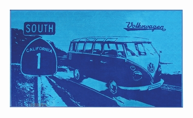 VW Bulli Strandtuch Highway 1 - HELL/DUNKELBLAU