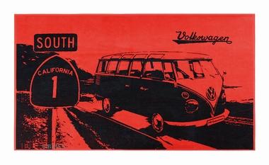 VW Bulli Strandtuch Highway 1 - ROT/SCHWARZ