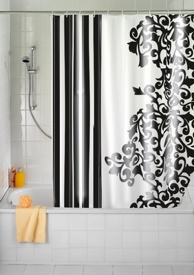 duschvorhang ornament schwarz klang und kleid interior duschvorh nge duschvorhang. Black Bedroom Furniture Sets. Home Design Ideas