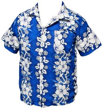 Hawaii Hemd - FLowers & Anchor - Dunkelblau