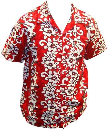 Hawaii Hemd - Flowers & Guitars - rot