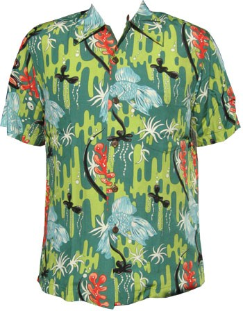 Kalakaua - original Hawaiihemd - Goldfish - Grün