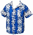 HAWAII HEMD - FLOWERS & ANCHOR - DUNKELBLAU