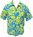 KALAKAUA - ORIGINAL HAWAIIHEMD - ALOHI - BLUE YELLOW