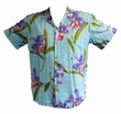 ORIGINAL HAWAIIHEMD - DOUBLE ORCHID - AQUA - PARADISE FOUND
