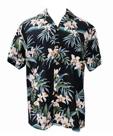 Original Hawaiihemd - Orchid Ginger - Schwarz - Paradise Found