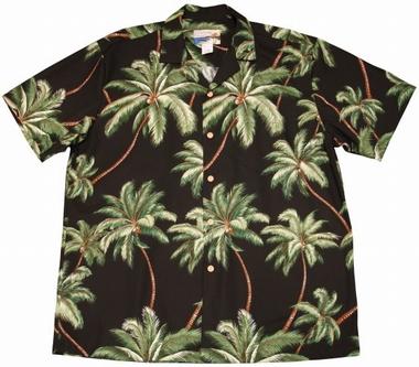 Original Hawaiihemd - Wailea Palms Schwarz - Waimea Casual