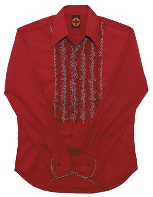 Rüschenhemd - Weinrot
