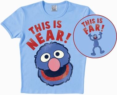 Logoshirt - Sesamstrasse - Grover Near/Far - Shirt Hellblau