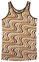 Wavy Retro Tank Shirt - Brown - Men
