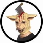 Horror Schweine Maske mit Axt im Kopf