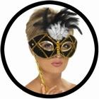 Venezianische Stabmaske Schwarz Gold