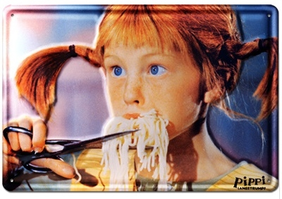 Blechschild - Pippi Langstrumpf - Spaghetti