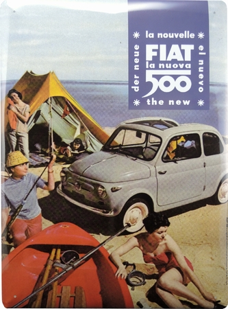 Fiat 500 Blechschild - Camping