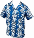 1 x HAWAII HEMD - FLOWERS & GUITARS - HELLBLAU
