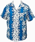 16 x HAWAII HEMD - FLOWERS & ANCHOR - HELLBLAU
