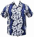 25 x HAWAII HEMD CLASSIC FLOWER - DUNKELBLAU