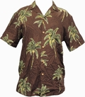 8 x ORIGINAL HAWAIIHEMD - COCONUT TREE - CHOCOLATE BROWN - PARADISE FOUND