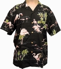 1 x ORIGINAL HAWAIIHEMD - FLAMINGO - SCHWARZ - PARADISE FOUND