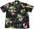 ORIGINAL HAWAIIHEMD - FLAMINGO - SCHWARZ - PARADISE FOUND