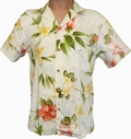 7 x ORIGINAL HAWAIIHEMD - HIBISCUS SUMMER - CREAM - PARADISE FOUND