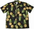 4 x ORIGINAL HAWAIIHEMD - MAUI PINEAPPLE - SCHWARZ - WAIMEA CASUAL