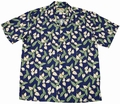 ORIGINAL HAWAIIHEMD - MINI ANTHURIUM - NAVY BLAU - PARADISE FOUND