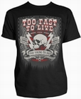 1 x TOO FAST TO LIVE SCHWARZ - STEADY CLOTHING T-SHIRT