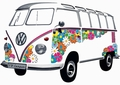 VW BULLI WANDTATTOO FLOWER