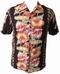 Kalakaua - original Hawaiihemd - Anthurium - Black