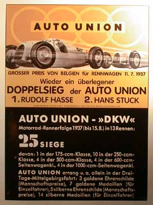 AUDI Auto Union GP von Belgien 1937. Poster