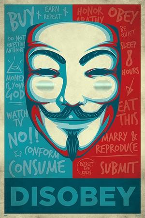 V For Vendetta Poster Maske Disobey