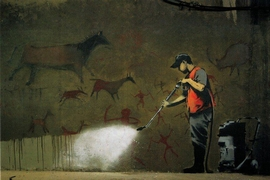 Banksy Kunstdruck Strassenreiniger