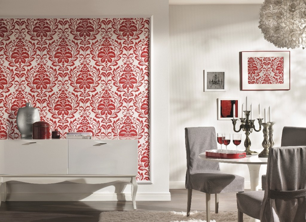 tapete flock iii baroque rot flock iii retro tapeten pr sentiert von klang und kleid. Black Bedroom Furniture Sets. Home Design Ideas