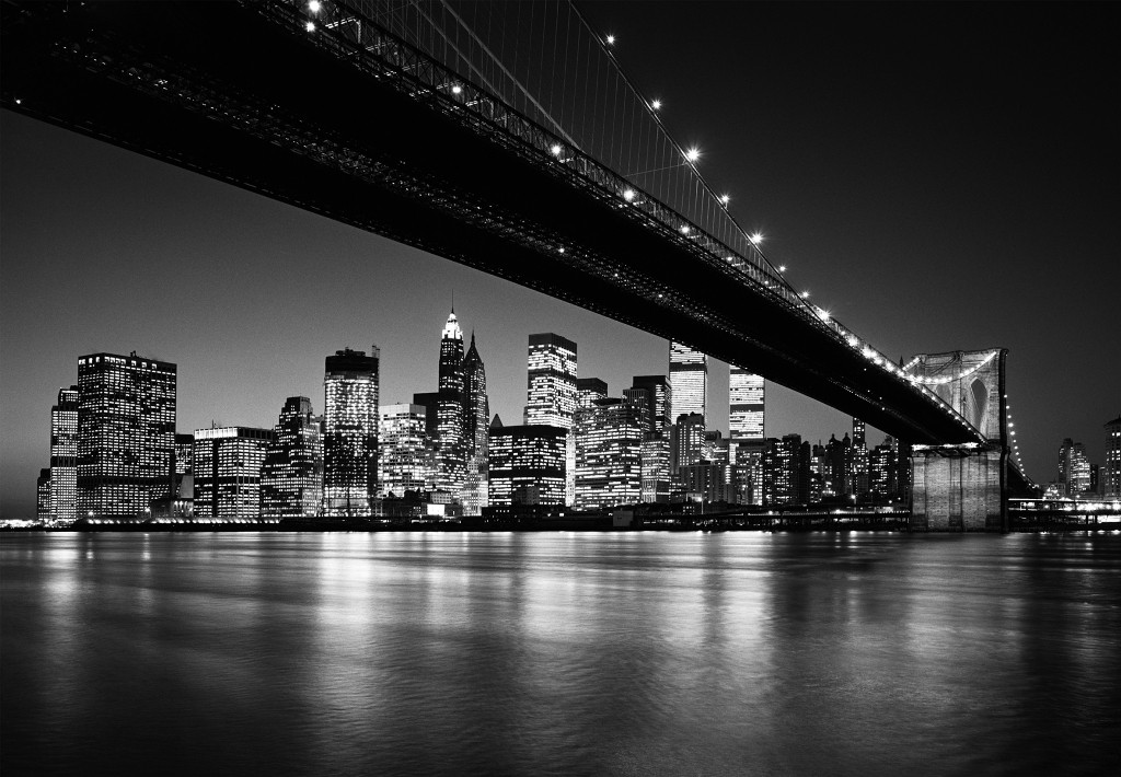 Fototapete - Manhattan Skyline - Schwarz - Weiß - Brooklyn Bridge