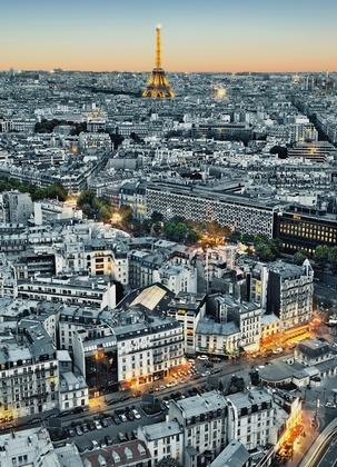 Fototapete Paris von oben Eiffelturm - Klicken für grössere Ansicht