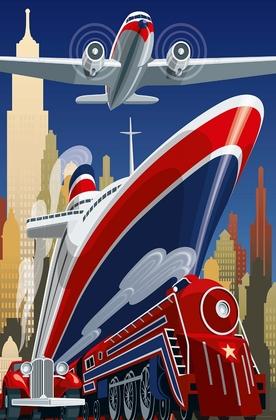 Fototapete Schiff Dampflock Flugzeug Auto - Klicken für grössere Ansicht
