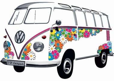 VW Bulli Wandtattoo Flower