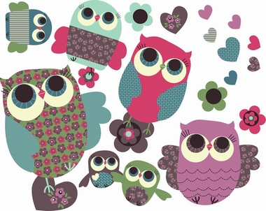 Wandaufkleber Jillian Phillips  - Owls - Medium