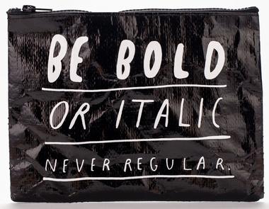 Bold Italic Zipper Tasche