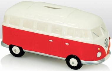 VW Campervan Spardose weiss/rot