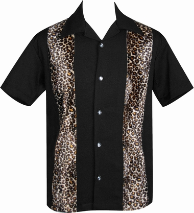 Steady Clothing Bowling Hemd  - Leopard Panel