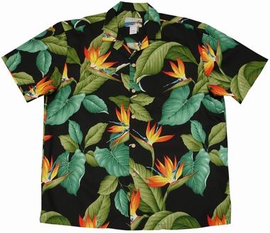 Original Hawaiihemd - Airbrush Bird of Paradise - Schwarz - Waimea Casual