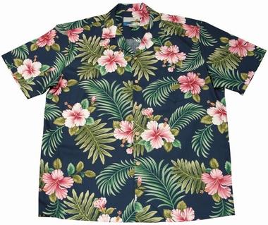 Original Hawaiihemd - Hibiscus Fern - Navyblau - Waimea Casual
