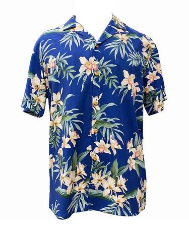 Original Hawaiihemd - Orchid Ginger - Royal Blau - Paradise Found