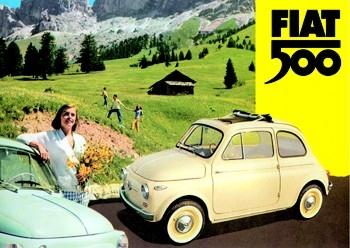 Fiat 500 Blechschild - Berge