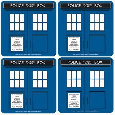 Untersetzer 4er Set - Doctor Who (Dr. Who - Tardis)