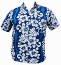10 x HAWAII HEMD CLASSIC FLOWER - HELLBLAU