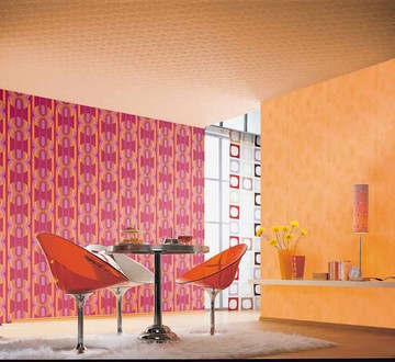 francine rot retro tapete 70er francine retro tapeten pr sentiert von klang und kleid. Black Bedroom Furniture Sets. Home Design Ideas